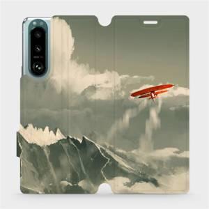 Flip pouzdro Mobiwear na mobil Sony Xperia 5 III - MA03P Oranžové letadlo v horách