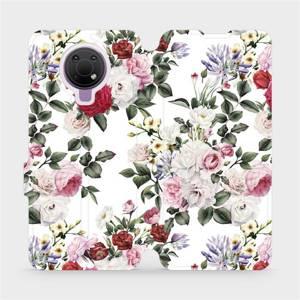 Flip pouzdro Mobiwear na mobil Nokia G10 - MD01S Růže na bílé