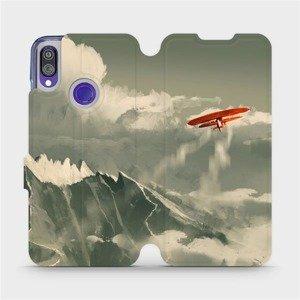 Flipové pouzdro Mobiwear na mobil Xiaomi Redmi Note 7 - MA03P Oranžové letadlo v horách