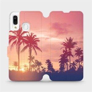Flipové pouzdro Mobiwear na mobil Samsung Galaxy A40 - M134P Palmy a růžová obloha
