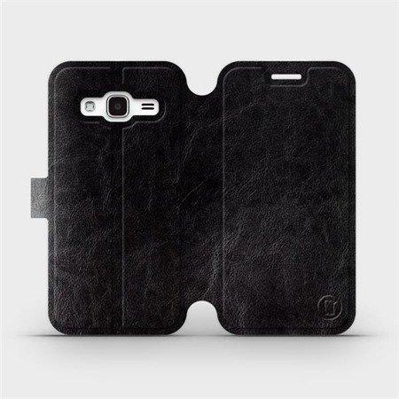 Parádní flip pouzdro Mobiwear na mobil Samsung Galaxy J3 2016 v provedení C_BLS Black&Gray s šedým vnitřkem