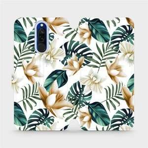Flipové pouzdro Mobiwear na mobil Xiaomi Redmi 8 - MC07P Zlatavé květy a zelené listy