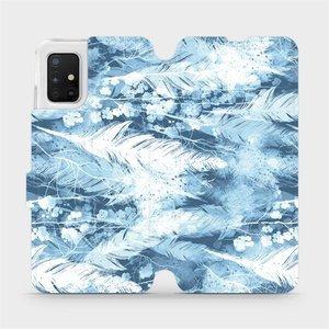 Flipové pouzdro Mobiwear na mobil Samsung Galaxy A51 - M058S Světle modrá horizontální pírka