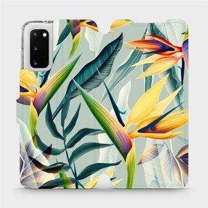 Flipové pouzdro Mobiwear na mobil Samsung Galaxy S20 - MC02S Žluté velké květy a zelené listy