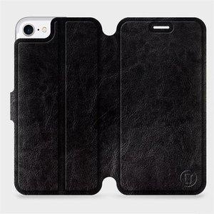 Flipové pouzdro Mobiwear na mobil Apple iPhone SE 2020 v provedení C_BLS Black&Gray s šedým vnitřkem