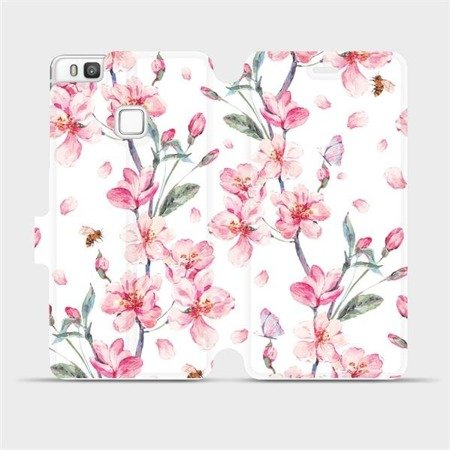 Flipové pouzdro Mobiwear na mobil Huawei P9 Lite - M124S Růžové květy