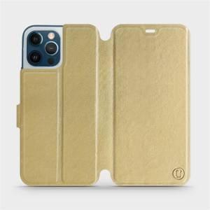 Flipové pouzdro Mobiwear na mobil Apple iPhone 12 Pro Max v provedení C_GOS Gold&Gray s šedým vnitřkem