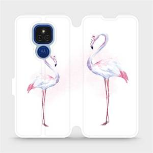 Flipové pouzdro Mobiwear na mobil Motorola Moto E7 Plus - M005S Plameňáci