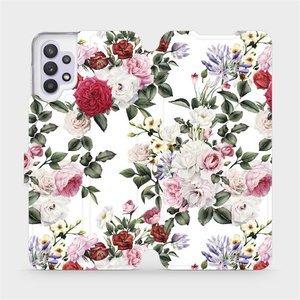 Flipové pouzdro Mobiwear na mobil Samsung Galaxy A32 5G - MD01S Růže na bílé