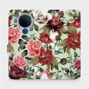 Flipové pouzdro Mobiwear na mobil Nokia 5.4 - MD06P Růže a květy na světle zeleném pozadí