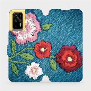 Flipové pouzdro Mobiwear na mobil Realme GT 5G - MD05P Džínové květy