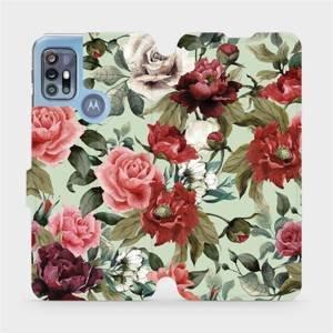 Flipové pouzdro Mobiwear na mobil Motorola Moto G20 - MD06P Růže a květy na světle zeleném pozadí