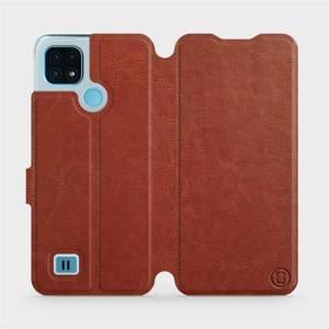 Flip pouzdro Mobiwear na mobil Realme C21 v provedení C_BRP Brown&Orange s oranžovým vnitřkem