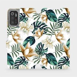 Flip pouzdro Mobiwear na mobil Xiaomi Poco M3 Pro 5G - MC07P Zlatavé květy a zelené listy