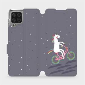 Flip pouzdro Mobiwear na mobil Samsung Galaxy M22 - V024P Jednorožec na kole