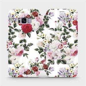 Flipové pouzdro Mobiwear na mobil Samsung Galaxy S8 - MD01S Růže na bílé