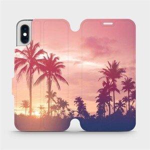Flipové pouzdro Mobiwear na mobil Apple iPhone XS - M134P Palmy a růžová obloha