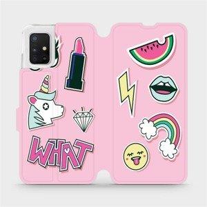 Flipové pouzdro Mobiwear na mobil Samsung Galaxy A51 - M129S Růžové WHAT