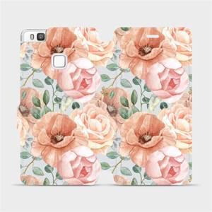 Flip pouzdro Mobiwear na mobil Huawei P9 Lite - MP02S Pastelové květy