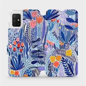 Flip pouzdro Mobiwear na mobil Samsung Galaxy A51 - MP03P Modrá květena