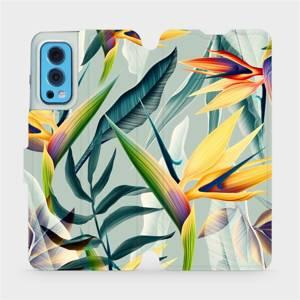 Flip pouzdro Mobiwear na mobil OnePlus Nord 2 5G - MC02S Žluté velké květy a zelené listy