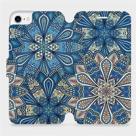 Parádní flip pouzdro Mobiwear na mobil Apple iPhone 7 - V108P Modré mandala květy