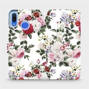 Flipové pouzdro Mobiwear na mobil Huawei Nova 3 - MD01S Růže na bílé