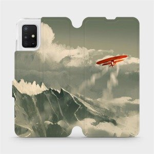 Flipové pouzdro Mobiwear na mobil Samsung Galaxy A51 - MA03P Oranžové letadlo v horách
