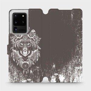 Flipové pouzdro Mobiwear na mobil Samsung Galaxy S20 Ultra - V064P Vlk a lapač snů
