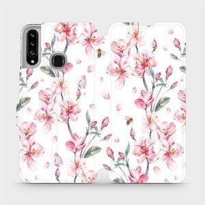Flipové pouzdro Mobiwear na mobil Samsung Galaxy A20S - M124S Růžové květy