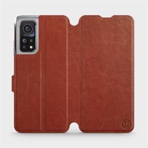 Flipové pouzdro Mobiwear na mobil Xiaomi MI 10T Pro v provedení C_BRP Brown&Orange s oranžovým vnitřkem