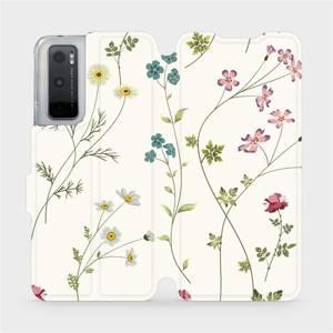 Flipové pouzdro Mobiwear na mobil Vivo Y70 - MD03S Tenké rostlinky s květy