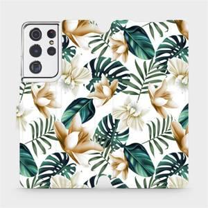 Flipové pouzdro Mobiwear na mobil Samsung Galaxy S21 Ultra 5G - MC07P Zlatavé květy a zelené listy