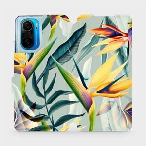 Flipové pouzdro Mobiwear na mobil Xiaomi Mi 11i / Xiaomi Poco F3 - MC02S Žluté velké květy a zelené listy
