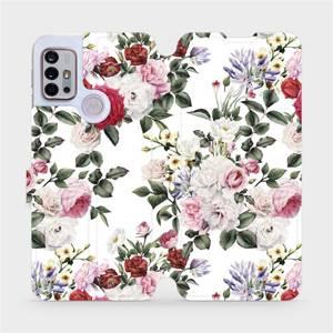 Flipové pouzdro Mobiwear na mobil Motorola Moto G10 - MD01S Růže na bílé
