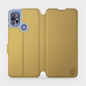 Flipové pouzdro Mobiwear na mobil Motorola Moto G30 v provedení C_GOS Gold&Gray s šedým vnitřkem