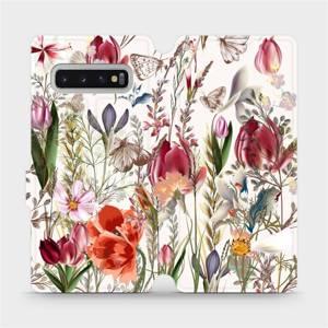 Flip pouzdro Mobiwear na mobil Samsung Galaxy S10 Plus - MP01S Rozkvetlá louka