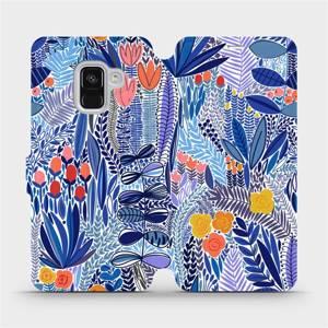 Flip pouzdro Mobiwear na mobil Samsung Galaxy A8 2018 - MP03P Modrá květena