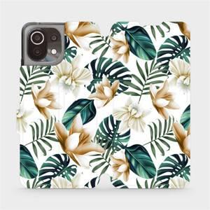 Flip pouzdro Mobiwear na mobil Xiaomi 11 Lite 5G NE - MC07P Zlatavé květy a zelené listy