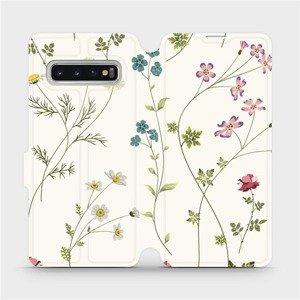 Flipové pouzdro Mobiwear na mobil Samsung Galaxy S10 - MD03S Tenké rostlinky s květy