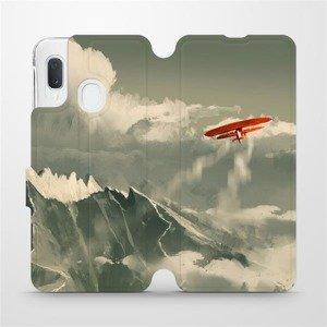 Flipové pouzdro Mobiwear na mobil Samsung Galaxy A20e - MA03P Oranžové letadlo v horách