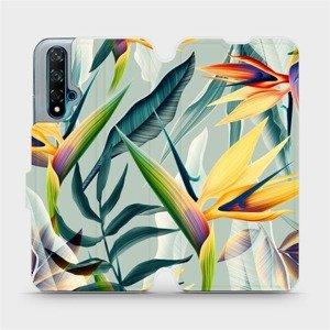 Flipové pouzdro Mobiwear na mobil Huawei Nova 5T - MC02S Žluté velké květy a zelené listy