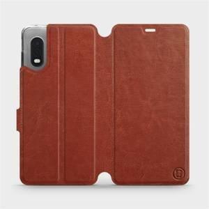 Flipové pouzdro Mobiwear na mobil Samsung Xcover PRO v provedení C_BRP Brown&Orange s oranžovým vnitřkem