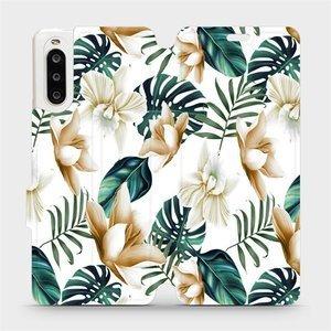 Flipové pouzdro Mobiwear na mobil Sony Xperia 10 II - MC07P Zlatavé květy a zelené listy