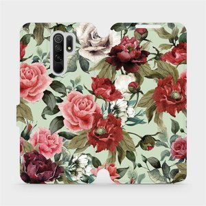Flipové pouzdro Mobiwear na mobil Xiaomi Redmi 9 - MD06P Růže a květy na světle zeleném pozadí