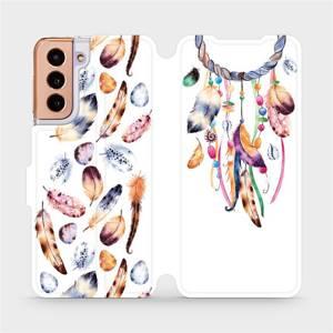 Flipové pouzdro Mobiwear na mobil Samsung Galaxy S21 5G - M003S Lapač a barevná pírka
