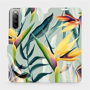 Flip pouzdro Mobiwear na mobil Sony Xperia 10 III - MC02S Žluté velké květy a zelené listy