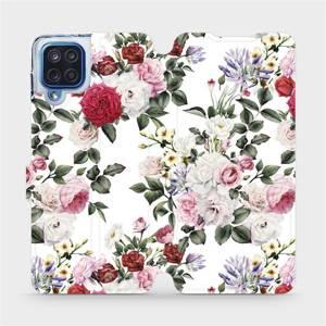 Flipové pouzdro Mobiwear na mobil Samsung Galaxy M12 - MD01S Růže na bílé