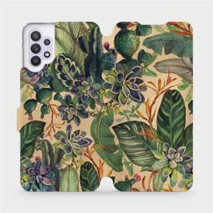 Flip pouzdro Mobiwear na mobil Samsung Galaxy A32 5G - VP05S Sukulenty