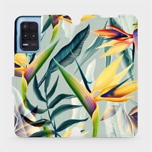 Flip pouzdro Mobiwear na mobil Realme 8 5G - MC02S Žluté velké květy a zelené listy
